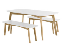 Dante Dining Table and Bench Set, Oak and White
