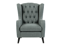 Duke Wingback Armchair, Tweed Duck Egg with Ocean Blue Velvet Trim and Buttons