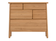 Jonah Chest of Drawers, Oak and Brass