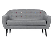 Ritchie 2 Seater Sofa, Pearl Grey with Rainbow Buttons