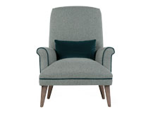 Wilbur Accent Chair, Tweed Duck Egg with Ocean Blue Velvet Trim and Bolster