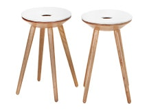 2 x Kitson Stools, Natural Wood and White
