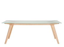 Aurel Dining Table, Frosted Glass and Ash