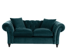 Bardot 2 Seater Chesterfield Sofa, Ocean Blue Velvet