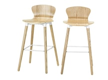 2 x Edelweiss Bar Chairs, Ash and White