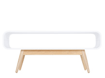 Esme Compact Coffee Table, White and Ash