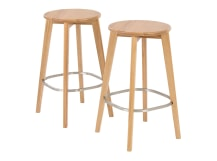 2 x Fjord Bar Stool, Oak