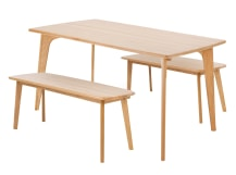 Fjord Rectangle Dining Table and Bench Set, Oak