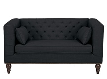 Flynn 2 Seater Sofa, Midnight Black