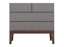 Lansdowne Upholstered Chest of Drawers, Walnut and Heron Grey