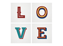 Love, Set Of Four Canvas Prints, 40cm x 40cm, by Lucinda Ireland
