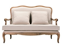 Marie 3 Seater Sofa, Natural Ash and Nougat Beige Cotton