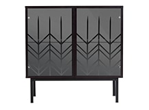 Portia Drinks Cabinet, Black and Glass