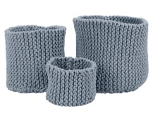 3x Purl Hand Knitted Basket, Overcast Blue
