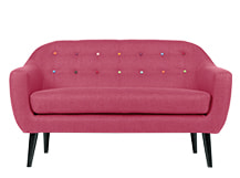 Ritchie 2 Seater Sofa, Candy Pink with Rainbow Buttons