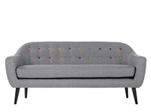 Ritchie 3 Seater Sofa, Pearl Grey with Rainbow Buttons
