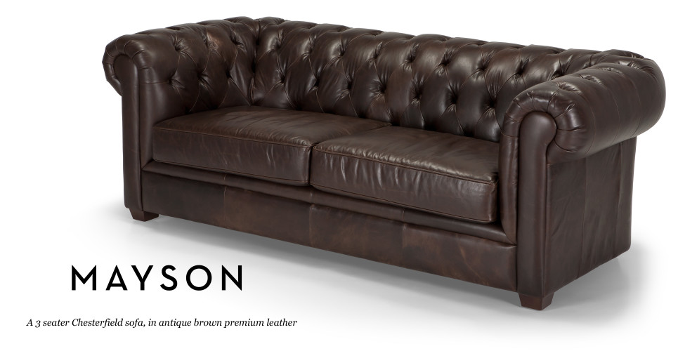 Mayson Chesterfield 3 Seater Sofa in antique brown premium leather made com
