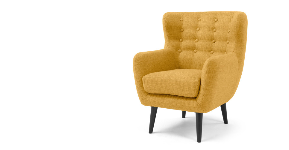 mini kubrick fauteuil jaune ocre le fait main. Black Bedroom Furniture Sets. Home Design Ideas
