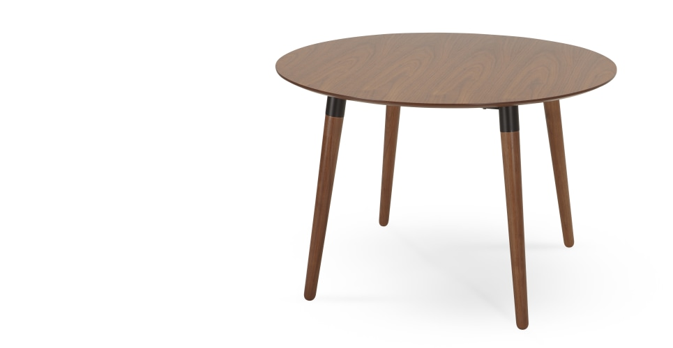 Edelweiss Round Dining Table Walnut And Black