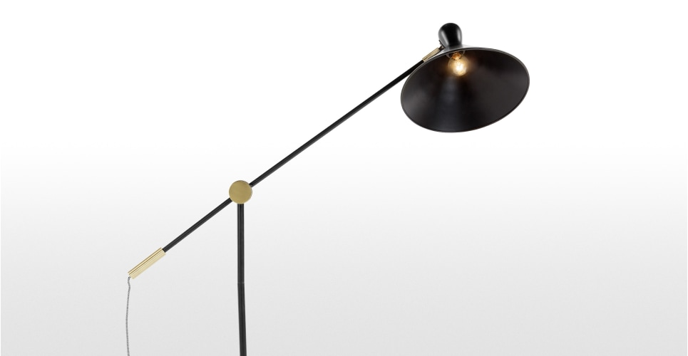 Ogilvy task floor lamp matt black and antique brass for G 10 floor lamp black