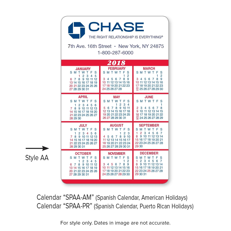 business card calendar