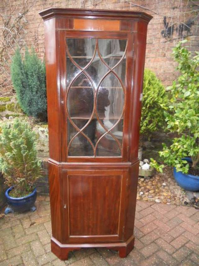 Glazed double floor standing  corner cupboard