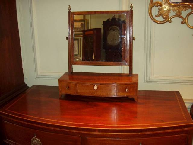 18th C bow-fronted toilet mirror