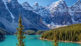 Blue Moraine Lake in Banff, Canada.