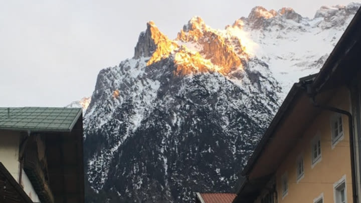Mountain towering over the village of Mittenwald in Bavaria, Germany (Image uploaded to Reddit by u/Sovva29).