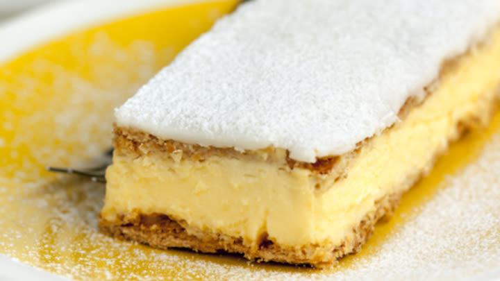 Camel milk vanilla slice.