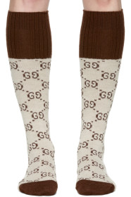 구찌 Gucci Beige Knee-High GG Socks
