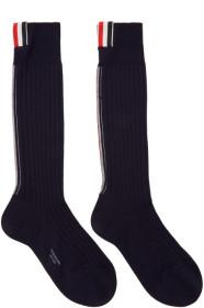 Thom Browne 톰 브라운 Navy Merino Vertical Stripe Ribbed Socks