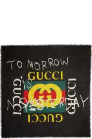구찌 Gucci Black Tomorrow Logo Shawl