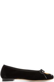 Black Embroidered Flower Ballerina Flats