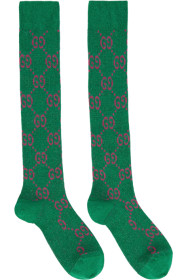 구찌 Gucci Green & Pink GG Supreme Socks