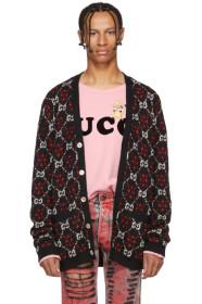 구찌 가디건 블랙 & 레드 Gucci Black & Red GG Logo Cardigan