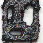 Jacin Giordano, Mask for hunting rainbows (dot face), 2013, yarn and acrylic on canvas, 16 7/8 x 11 3/8 in. (43 x 29 cm), Sultana, Paris