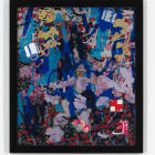 Petra Cortright, Buffy keepers+kick.rom, 2015, digital painting, duraflex, UV print, stickers, mounted on acrylic, 54 1⁄2 × 47 1⁄2 × 1 1⁄4 in.