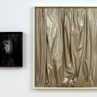 Simone Gilges, Take Off, 2009, darkroom assembly on gelatin silver fiber print, synthetic fabric, shellac, Plexiglas, artist's wood frames (two panels), 20.8 x 17 x 2.7 in. / 53 x 43 x 7 cm. (left); 49.4 x 41.5 x 2.7 in. / 125.5 x 105.5 x 7 cm. (right), overall dimensions variable, SG_FP1388