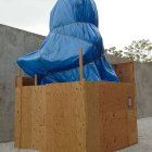 Ester Partegàs, Monument to the Truth, 2005, wood, metal studs, tarp, rope, paper, 20 x 10 x 10 ft., EP_FP1595, installation view, Sculpture Center, New York,
