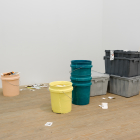 Ester Partegàs, Untitled (Containers and Labels), 2015, cast polyurethane, metal and acrylic on paper, dimensions variable