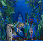 Isis and Taweret with Hafez's Tomb, 40 x42 inches, oil on canvas, 2012.
