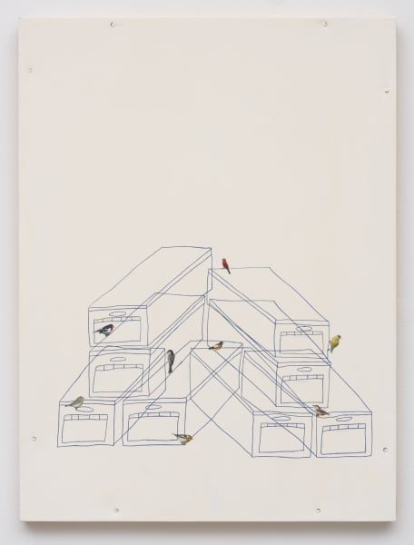 Untitled (vertical stack with perched birds)