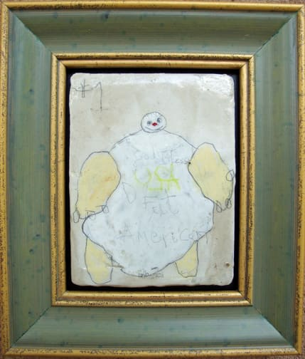 D Fat American,  2008 mixed media on panel 6x7 in   framed  (sold)