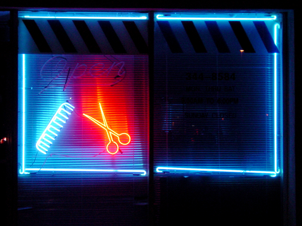 Black Neon Barbershp by LA-based artist Vincent Johnson
