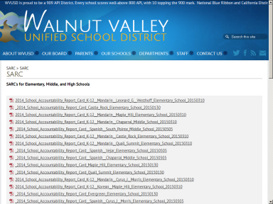 Walnut Valley Unified 2013-14 SARC page.