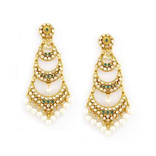 Gold Plated Kundan and Faux Pearl Earrings