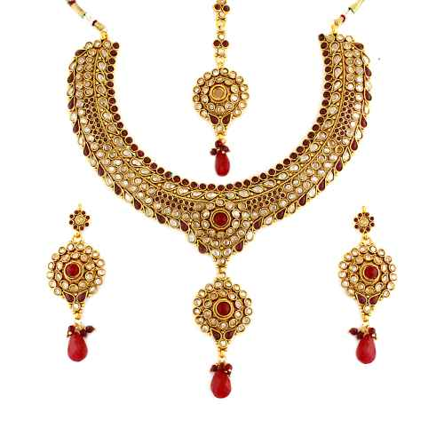 Stunning Red and White Gold Plated  Antique Kundan Necklace Set