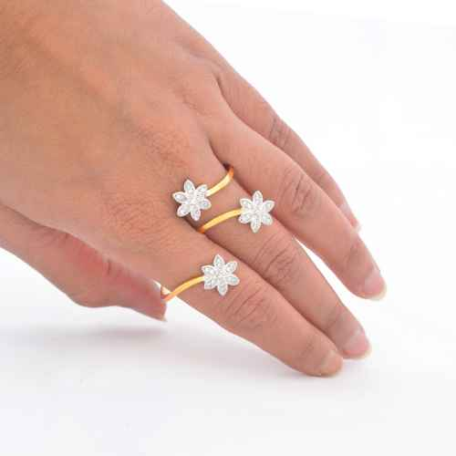 Stylish two tiered Gold plated American Diamond Ring
