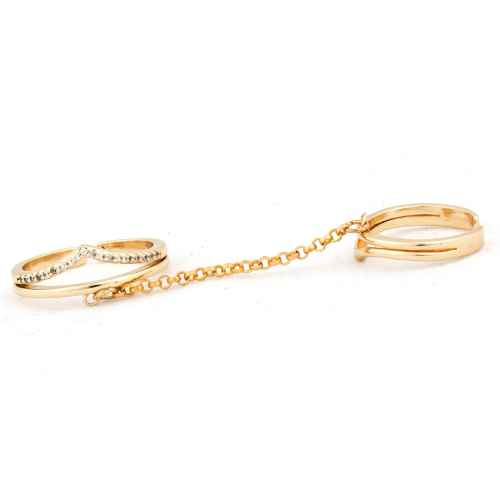 Wave two finger ring
